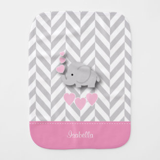 Pink Baby Elephant on Gray Chevron Pattern Burp Cloth