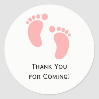 Pink Baby Feet Baby Shower Sticker Labels