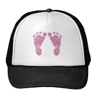 Pink baby footprints trucker hat