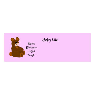 Pink Baby Girl Announcement Pack Of Skinny Business Cards