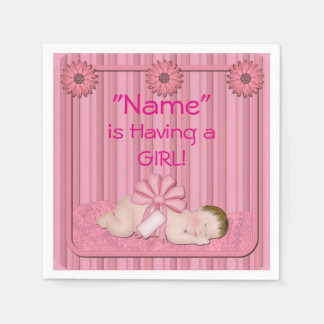 Pink Baby Girl Baby Shower Paper Napkins