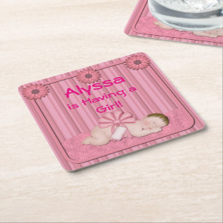 Pink Baby Girl Baby Shower Party Coasters