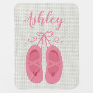 Pink Baby Girl Ballerina Ballet Toe Shoes Dancer Baby Blanket