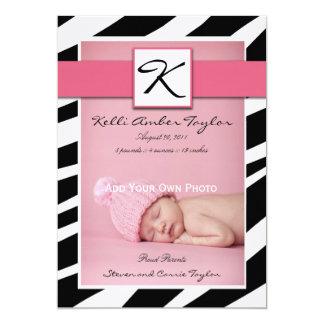 Pink Baby Girl Birth Announcement Zebra Pattern