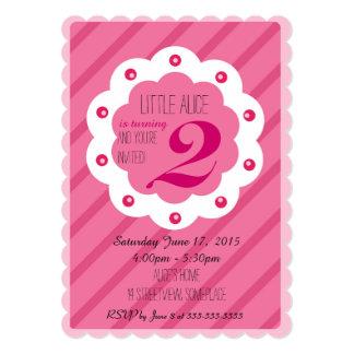 Pink baby girl birthday invitation