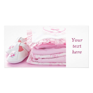 Pink baby girl clothes for baby shower personalized photo card