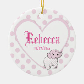 Pink Baby Girl Elephant Heart and Polka Dots Ceramic Ornament