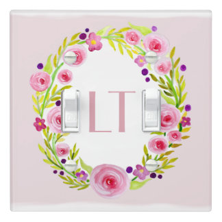 Pink Baby Girl Flower Wreath Monogram Nursery Light Switch Cover