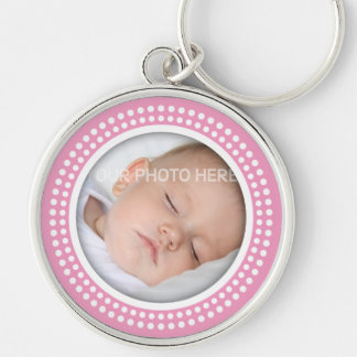 Pink baby girl photo frame  -  white dots keychain
