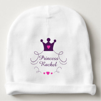 Pink Baby Girl Princess Crown Tiara Royalty Hearts Baby Beanie