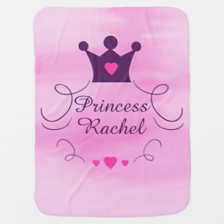 Pink Baby Girl Princess Crown Tiara Royalty Hearts Baby Blanket