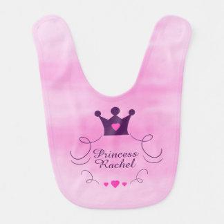 Pink Baby Girl Princess Crown Tiara Royalty Hearts Bib