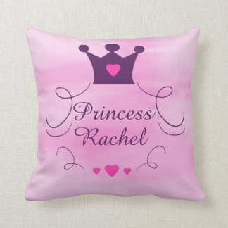 Pink Baby Girl Princess Crown Tiara Royalty Hearts Throw Pillow