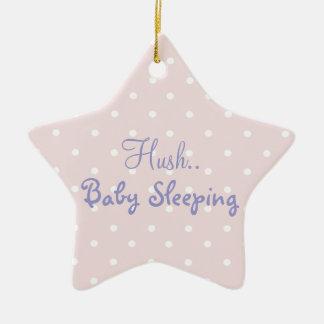 Pink baby girl sleeping door sign ceramic ornament