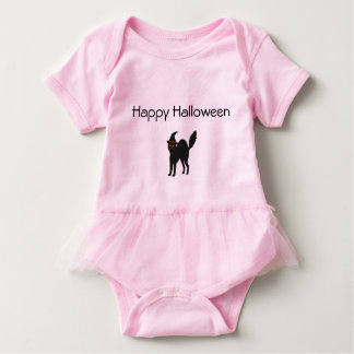 Pink Baby Girl Tutu Bodysuit Halloween Cat.