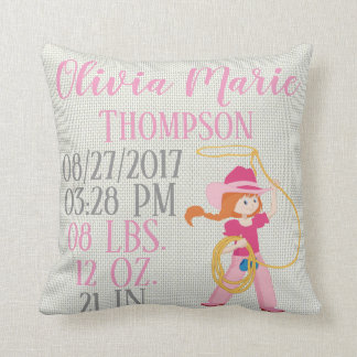 Pink Baby Girl Western Cowgirl Rope Lasso Cowboy Throw Pillow