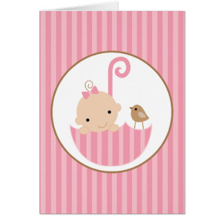 Pink Baby in Umbrella Baby Shower Card