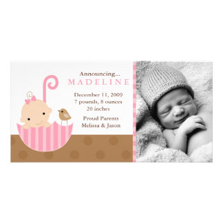 Pink Baby in Umbrella Birth Announcements Customized Photo Card