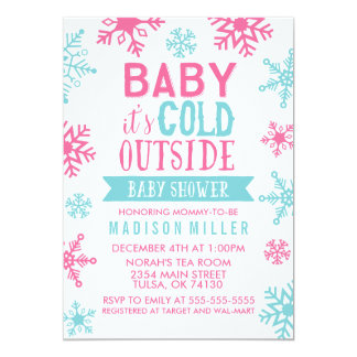 "Pink Baby It's Cold Outside Baby Shower 5"" X 7"" Invitation Card"