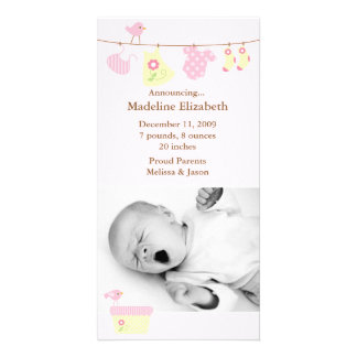 Pink Baby Laundry Birth Announcement Photo Cards