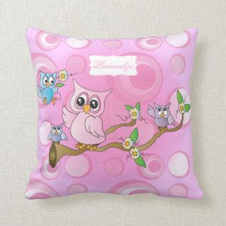 Pink Baby Owl   Nursery Theme Throw Pillow