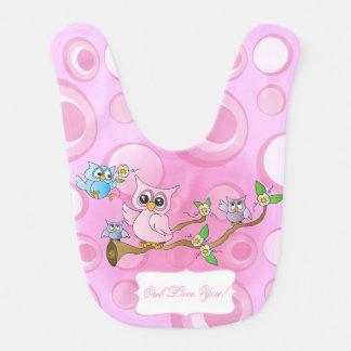 Pink Baby Owl | Nursery Theme Bibs