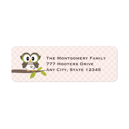 Pink Baby Owl Return Address Labels