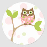 Pink Baby Owl Round Stickers