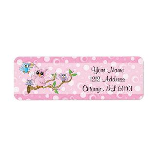 Pink Baby Owl | Shower Theme Return Address Label