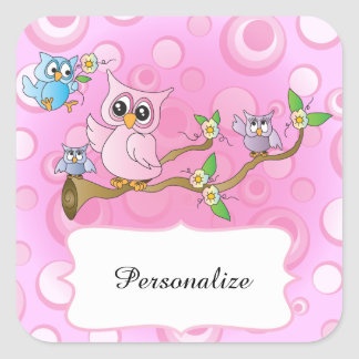 Pink Baby Owl | Shower Theme Square Sticker