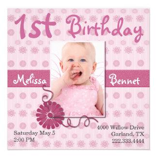 Pink Baby s First Birthday Photo Invitation
