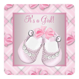 "Pink Baby Shoes Pink Baby Girl Shower 5.25"" Square Invitation Card"