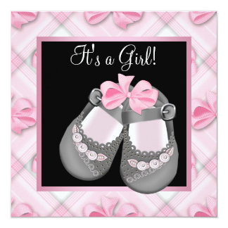 "Pink Baby Shoes Pink Black Baby Girl Shower 5.25"" Square Invitation Card"