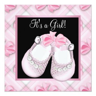 Pink Baby Shoes Pink Black Baby Girl Shower 5.25x5.25 Square Paper Invitation Card