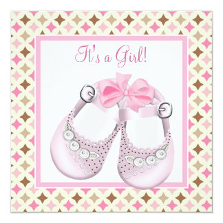 Pink Baby Shoes Pink Brown Baby Girl Shower Personalized Invitation