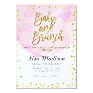 Pink Baby Shower Brunch Invitation