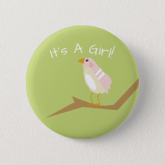 Pink Baby Shower Chic Nature Pink Bird Favor Pin