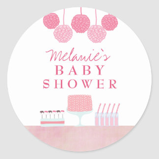 Pink Baby Shower Dessert Table Tag Label Sticker