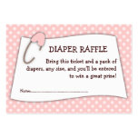 Pink Baby Shower Diaper Raffle Ticket Insert Pack Of Chubby Business Cards
