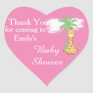 Pink baby shower giraffe thank you stickers
