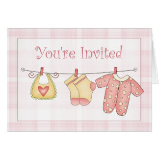 Pink Baby Shower Invitation with Clothesline