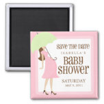 Pink Baby Shower Save The Date Square Magnet
