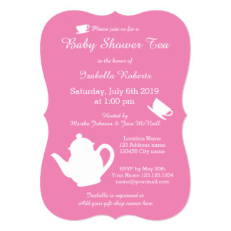 Pink baby shower tea party invitations with teapot