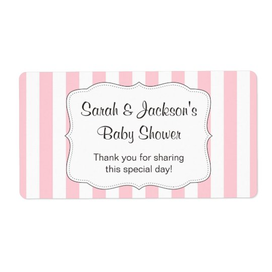 Pink baby shower thank you favour water bottle shipping label