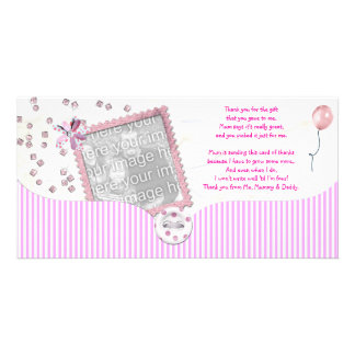 Pink Baby shower Thank You Photo Card from baby
