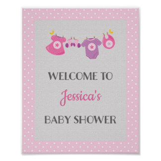 Pink Baby Shower Welcome Poster Print