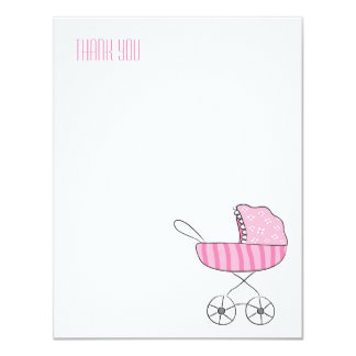 Pink Baby Stroller | Flat Thank You Note Cards