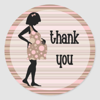 Pink Baby Thank You Stickers