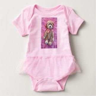 PINK BABY TUTU BODYSUIT WITH A CUTE BEAR DESIGN