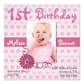"Pink Baby's First Birthday Photo Invitation 5.25"" Square Invitation Card"